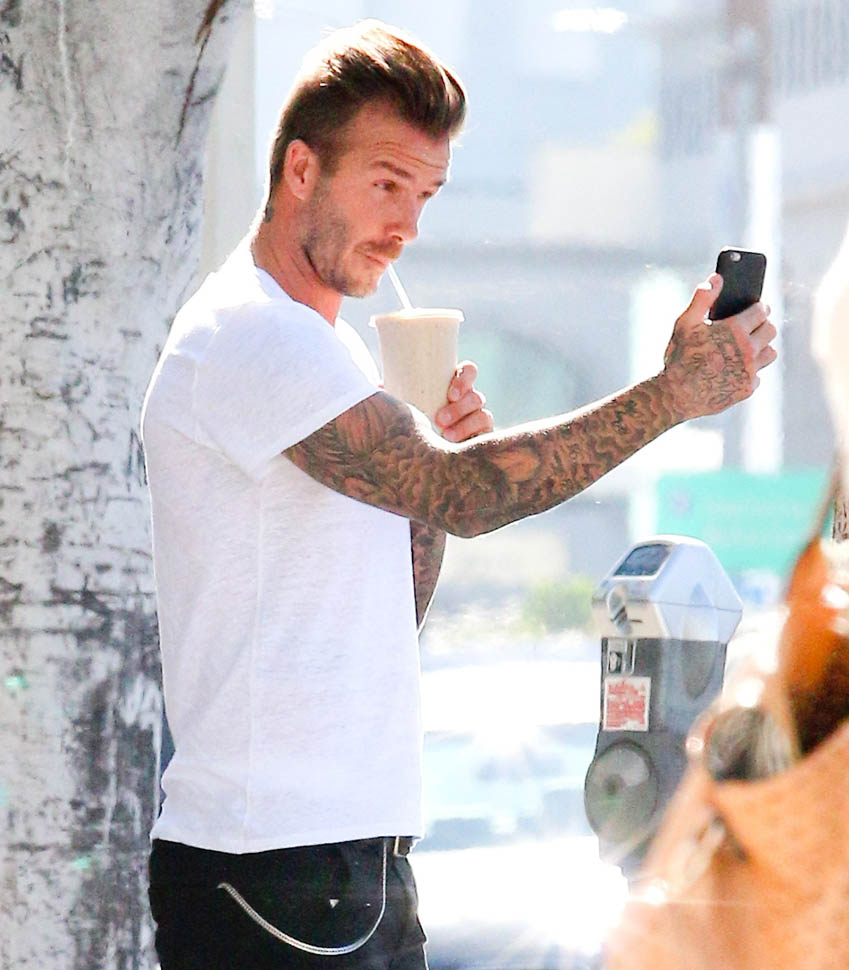 Even David Beckham takes selfies of himself with his coffee