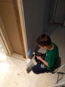 Kelton my 7 year old drywaller