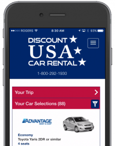 Discount USA Car Rental Closeup