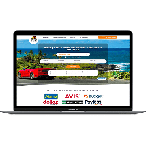 14 Oranges - Discount Hawaii Car Rental Website on a Mac